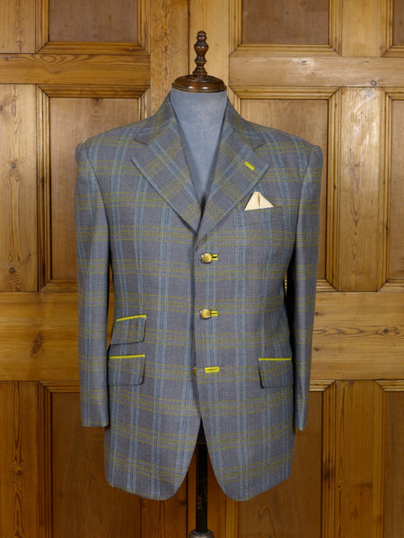 17/1151 (dc) santarelli sartoria scabal luxury wool plaid check sports jacket blazer 42 short