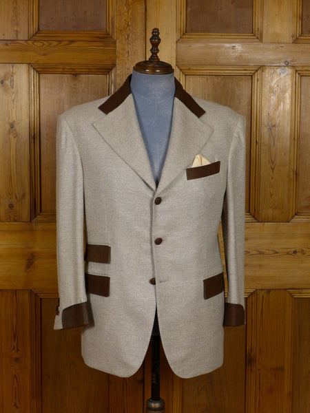 17/1154 (dc) santarelli sartoria loro piana luxury pure cashmere beige sports jacket blazer w/ leather trims 42 short