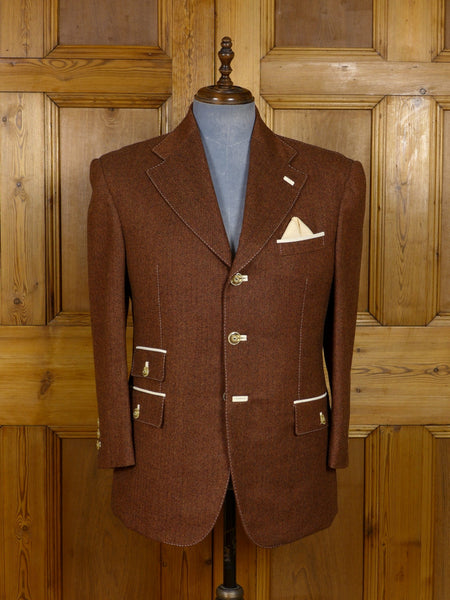 17/1161 (dc) santarelli sartoria holland & sherry savile row luxury wool brown herringbone sports jacket blazer 42 short