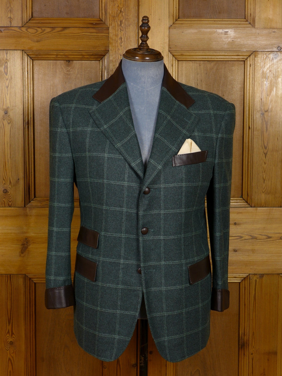17/1164 (dc) santarelli sartoria loro piana luxury pure cashmere green check sports jacket blazer 42 short