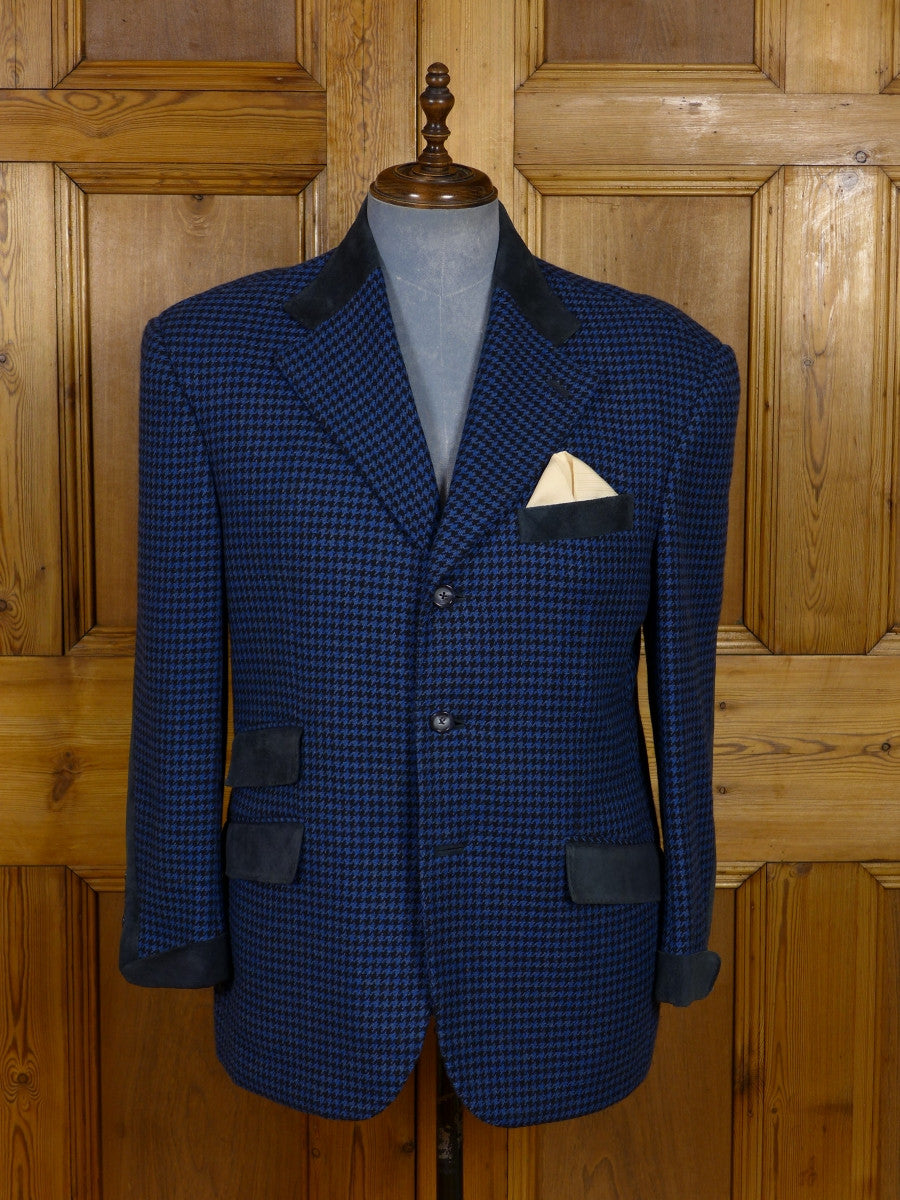17/1167 (dc) santarelli sartoria luxury pure cashmere blue & black houndstooth check sports jacket blazer w/ suede trims 42-43 short
