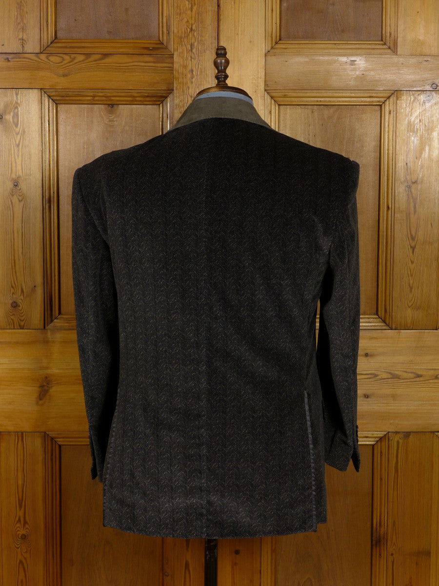 17/1168 (dc) santarelli sartoria luxury cotton velvet brown & black herringbone sports jacket blazer w/ suede trims 42 short