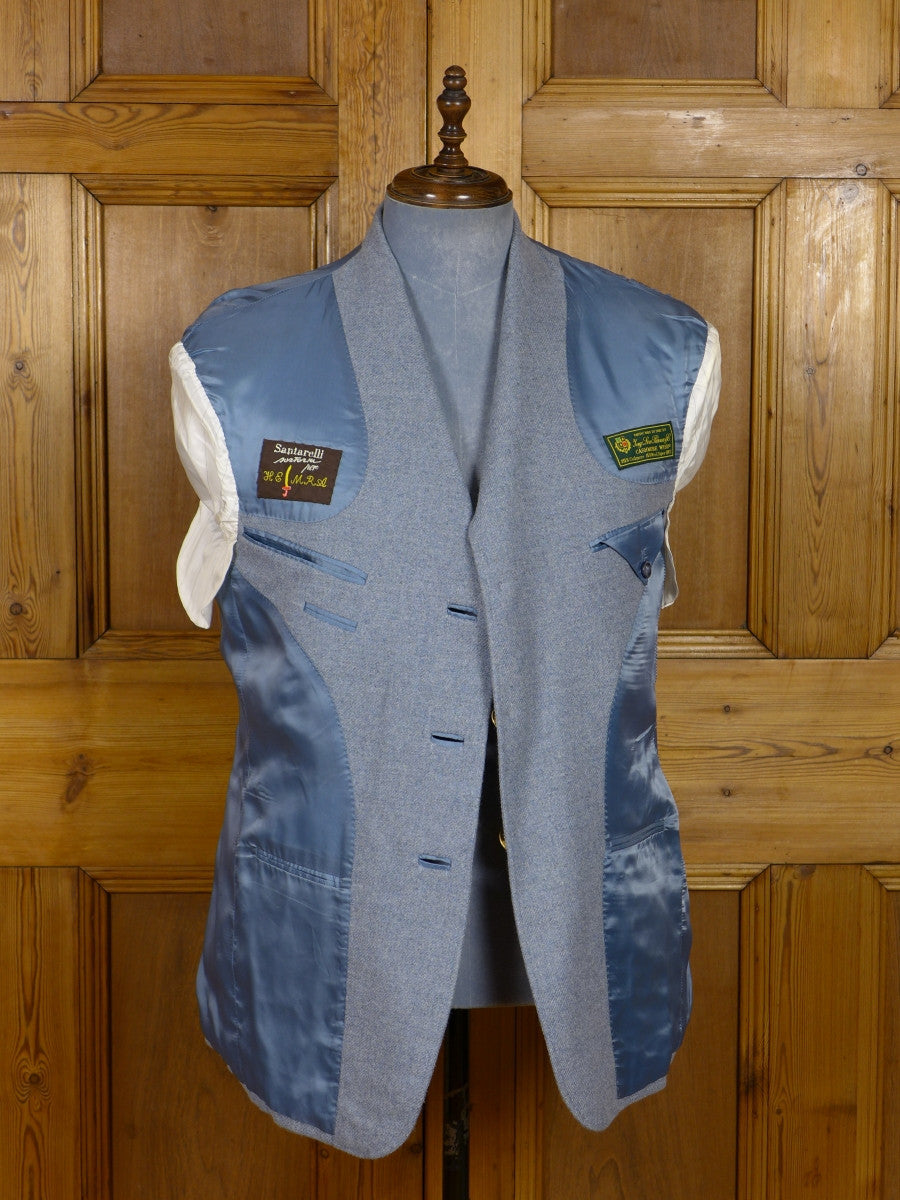 17/1170 (dc) santarelli sartoria loro piana luxury 85% cashmere pale blue sports jacket blazer 41-42 short