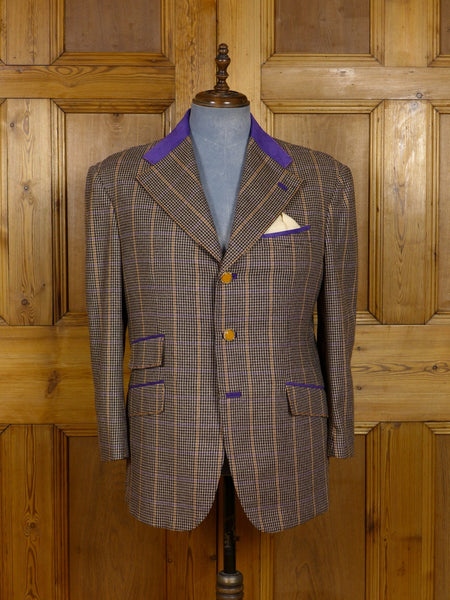 17/1172 (dc) santarelli sartoria drapers luxury pure cashmere check sports jacket blazer w/ suede trims 42-43 short