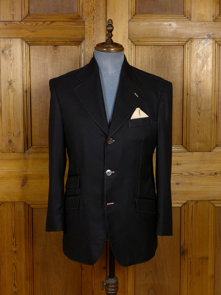 17/1173 (dc) santarelli sartoria loro piana luxury cashmere & silk black sports jacket blazer w/ 'pin-up girl' linings 40-41 short