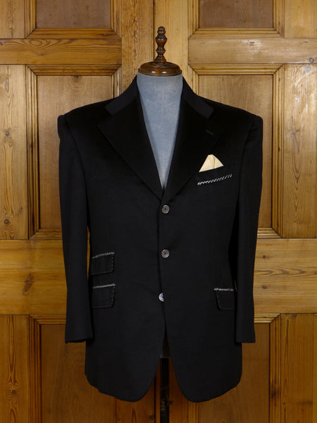 17/1176 (dc) santarelli sartoria loro piana luxury pure cashmere black sports jacket blazer 42 short