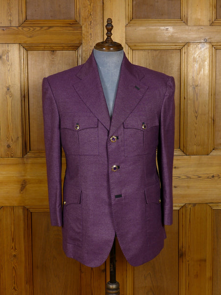 17/1174 (dc) santarelli sartoria luxury cashmere & silk maroon sports jacket blazer 40-41 short