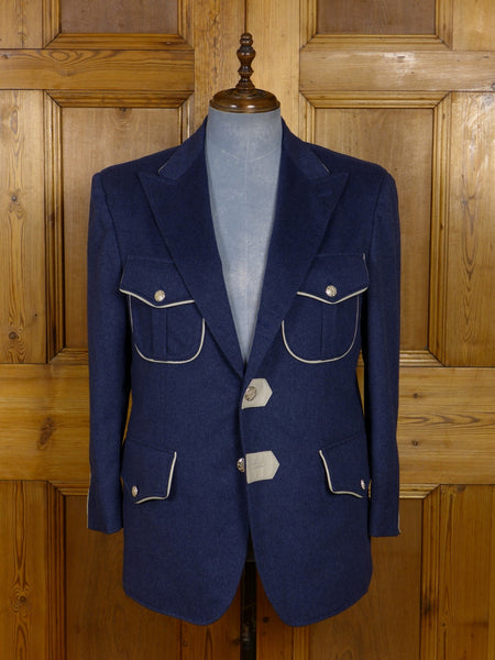 17/1182 (dc) santarelli sartoria drapers luxury pure cashmere blue sports jacket blazer w/ leather trims 41-42 short