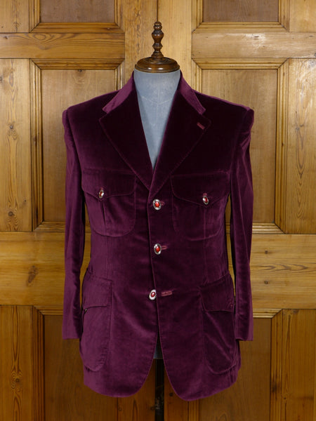 17/1184 (dc) santarelli sartoria scabal luxury cotton velvet burgundy velvet jacket blazer w/ silk trims 41-42 short