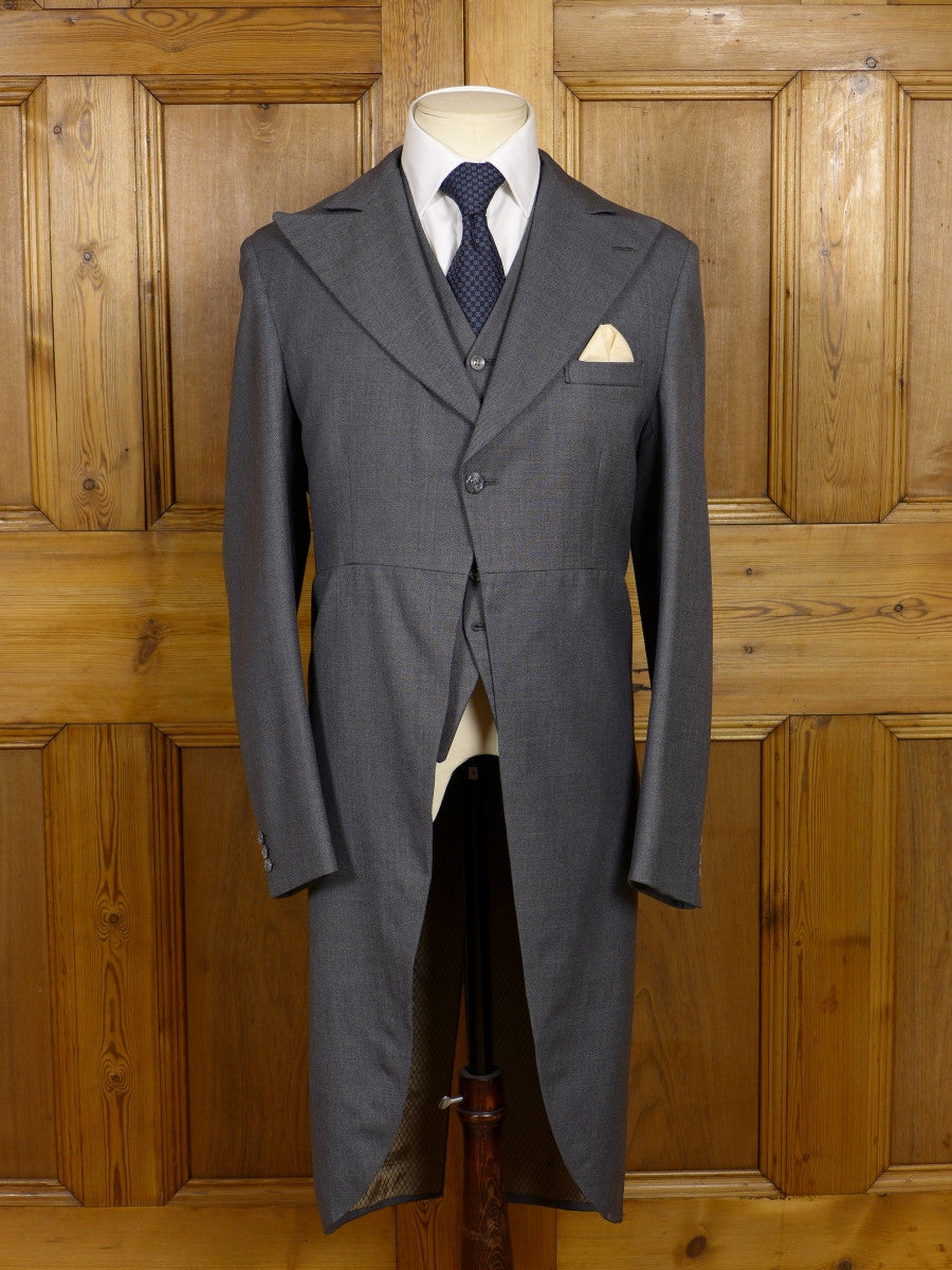 17/1227 vintage bespoke tailored grey pick weave morning coat and matching waistcoat 37 regular to long