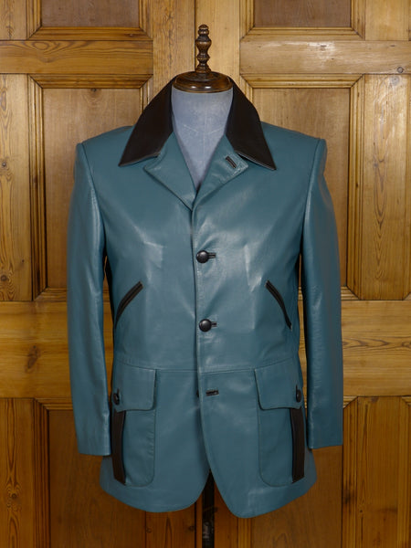 17/1793 (dc) stunning santarelli sartoria green / black trims italian leather sports jacket 41 short