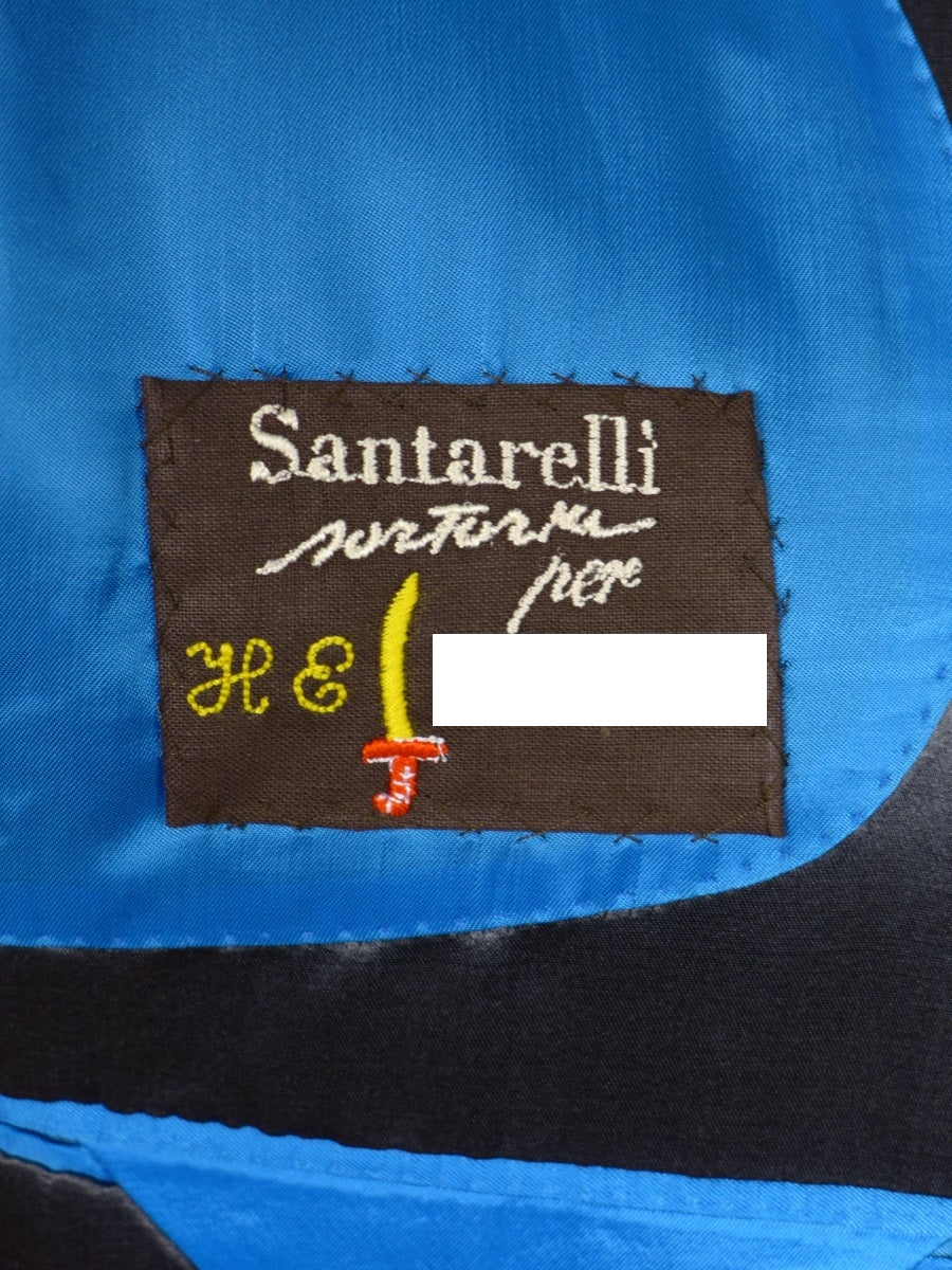 17/1794 (dc) stunning santarelli sartoria grey w/ royal blue trims italian pure silk sports jacket blazer 42 short