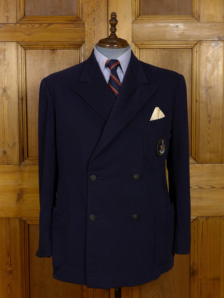 17/1245 vintage 1952 royal hong kong yacht club heavyweight melton wool navy blue d/b blazer 44 short to regular