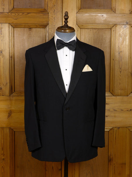 17/1340 vintage 1965 london tailored black barathea / grosgrain notch dinner jacket w/ red lining 42 short