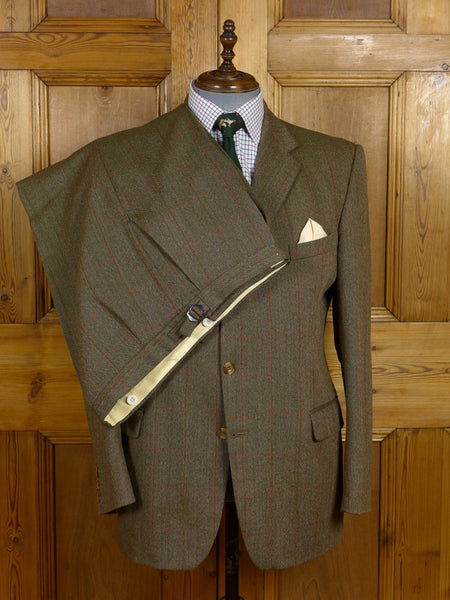 17/1291 vintage hackett london green / red windowpane check tweed suit 44 regular