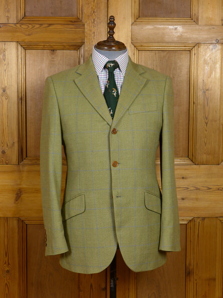 17/1292 immaculate hackett london wool & cotton green / blue windowpane check sports jacket 40-41 regular