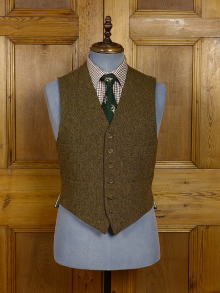 17/1295 vintage henry poole savile row bespoke brown donegal tweed country waistcoat 38-39 short to regular