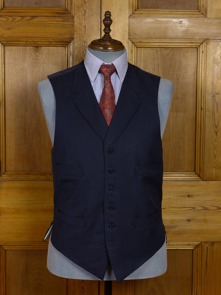 17/1298 vintage 1998 anderson & sheppard savile row bespoke navy blue worsted waistcoat w/ lapels 42 extra long