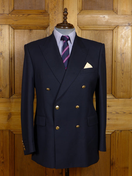 17/1306 (pt) immaculate modern aquascutum london navy blue d/b blazer w/ gold buttons 42 regular