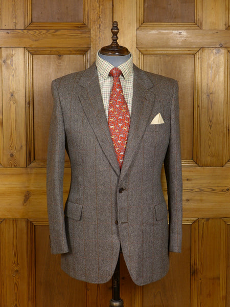 17/1344 vintage gieves & hawkes savile row brown windowpane check tweed jacket 42 regular
