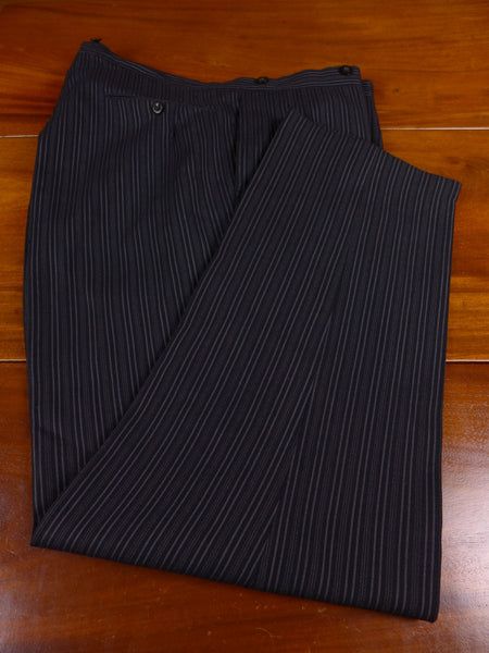 17/1349 vintage stovel & mason savile row bespoke 'cashmere-stripe' heavyweight worsted high-rise morning trouser 38-43