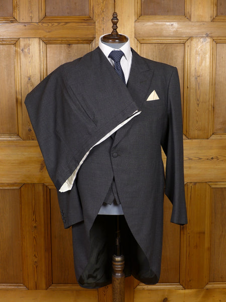 17/1356 (pt) vintage 1968 savile row bespoke grey pick weave 3-piece morning suit 46-47 long