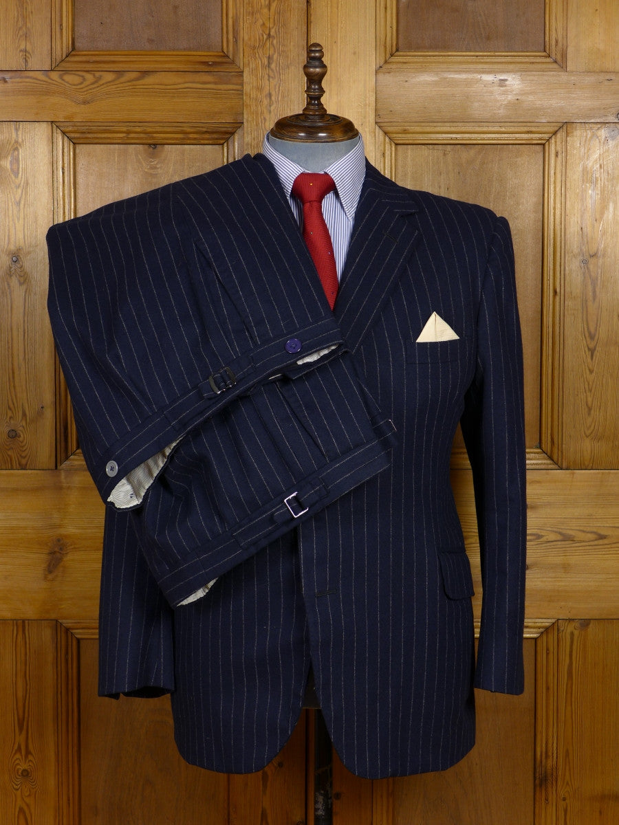 17/1357 vintage 1988 city of london bespoke navy blue rope-stripe worsted flannel suit w/ 2 pairs trouser 42 short