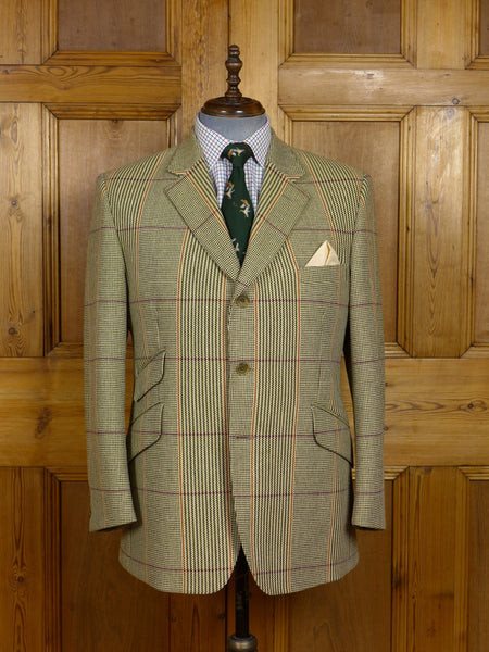 17/1361 near immaculate crombie sporting check tweed hacking jacket 44 short