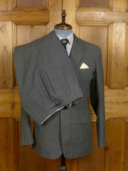 17/1362 (dc) exceptional 1964 anderson & sheppard savile row bespoke lovat green 3-piece thornproof twist tweed suit 40 regular