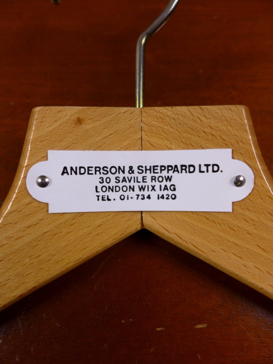 17/1380 excellent vintage anderson & sheppard savile row bespoke wooden hanger