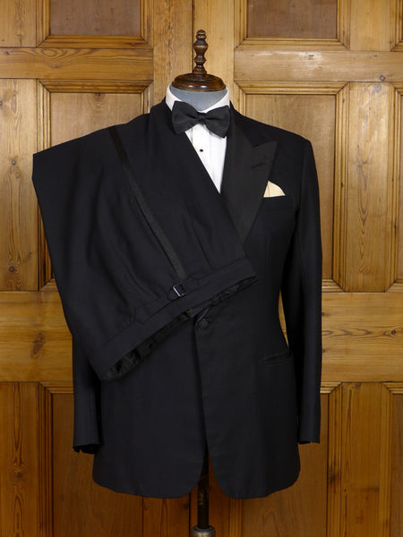 17/1370 (dc) vintage 1989 anderson & sheppard savile row bespoke black barathea / grosgrain peak lapel dinner suit 42-43 regular