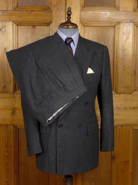 17/1383 (pt) vintage 1990 edward sexton savile row bespoke grey worsted flannel d/b suit 40 regular to long