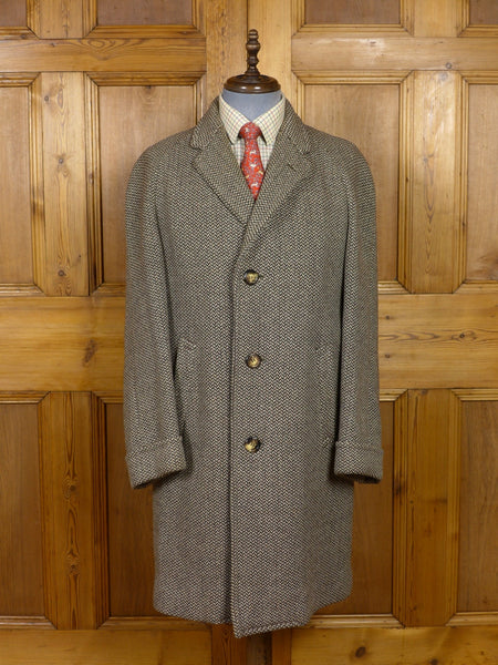 17/1387 (pt) vintage 1950s 1960s chester barrie london heavyweight brown / beige herringbone raglan overcoat 38 40 regular