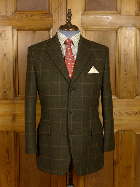17/1390 (pt) near immaculate magee brown windowpane check tweed sports jacket 42 regular