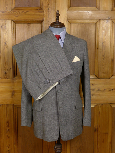 17/1417 (dc) vintage 1964 anderson & sheppard savile row bespoke heavyweight worsted twist salt & pepper grey suit 39-40 regular