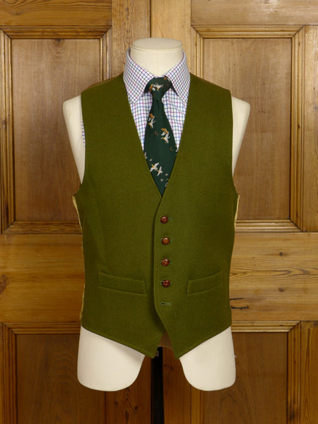17/1427 (pt) quality green doeskin wool country waistcoat 39 regular