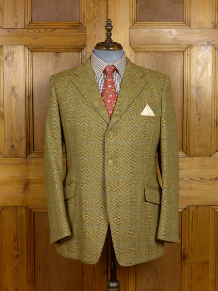 17/1429 (pt) vintage gieves savile row heavyweight beige brown wp check tweed jacket 43 regular