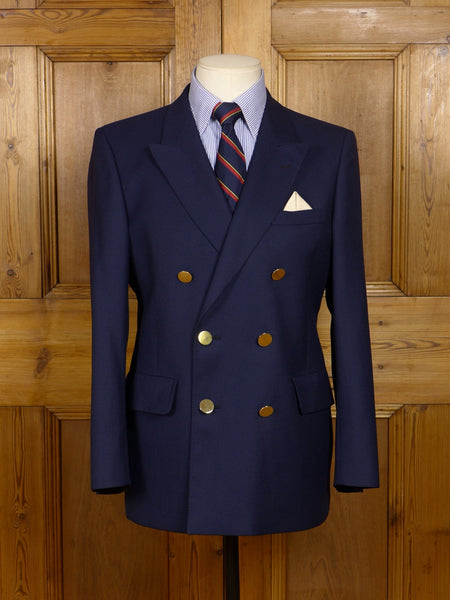 17/1469 (pt) vintage aquascutum navy blue worsted d/b blazer 38 short