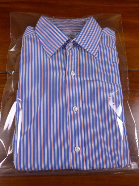 17/1451 (pt) immaculate vintage turnbull & asser blue / multicolour candy stripe cotton double cuff shirt 17
