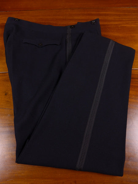 17/1507 (pt) vintage 1940s 1950s high-rise midnight blue barathea evening trouser 36 short