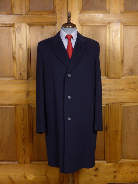 17/1439 (pt) near immaculate vintage crombie wool navy blue overcoat coat 44-45 regular to long