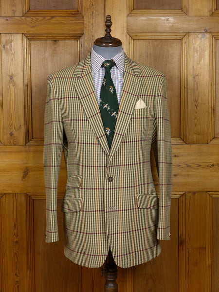 17/1442 (pt) immaculate john g hardy alsport check tweed hacking jacket w/ staghorn buttons 42 long