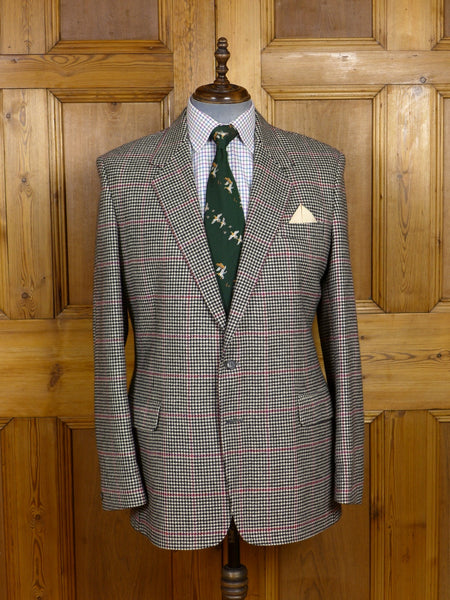17/1454 immaculate vintage crombie 100% cashmere black & white / red check sports jacket 44 long