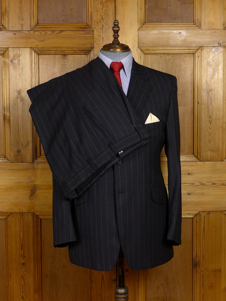 17/1458 immaculate modern crombie black rope-stripe 100% wool suit 43 regular
