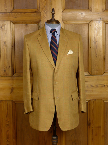 17/1460 ede & ravenscroft 100% irish linen tan windowpane check sports jacket 42-43 regular