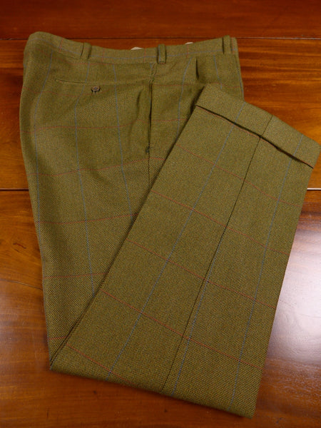 17/1471 tailor-made heavyweight green windowpane check tweed trouser 38 short regular long