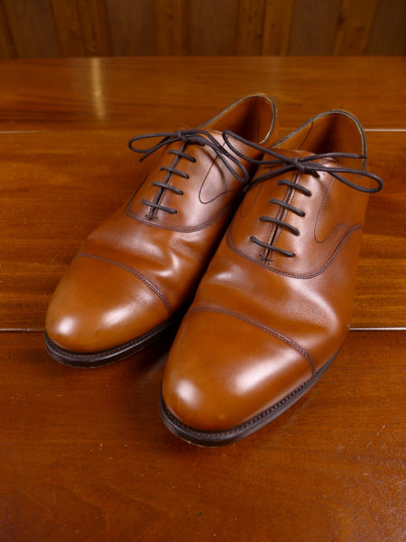 17/1474 (pt) immaculate edward green northampton tan brown 'chelsea' oxford toe cap calf leather shoe uk 10.5
