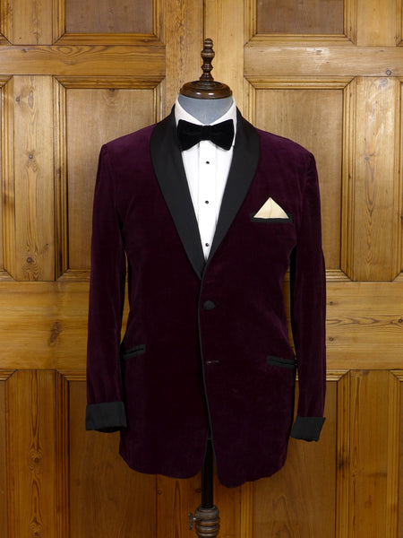 17/1484 (pt) vintage 1950s 1960s tailored burgundy red dinner / smoking jacket w/ grosgrain shawl & trims 40 short to regular