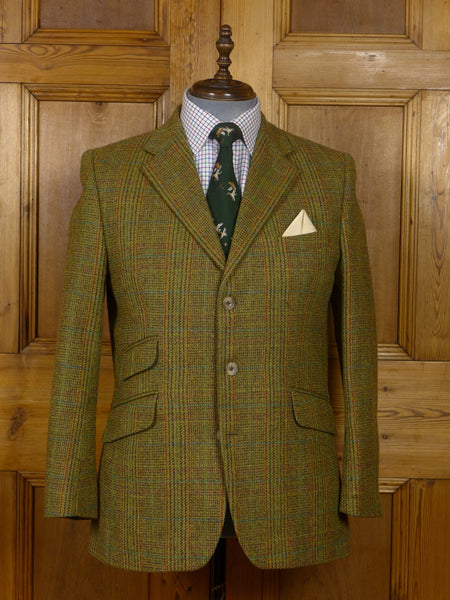 17/1553 p&j haggart aberfeldy custom tailorerd gereen / brwon glen check tweed jacket 42-43 short