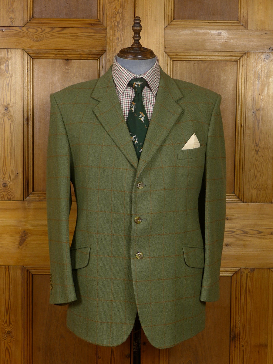 17/1559 hackett london green windowpane check tweed hacking jacket 45 regular
